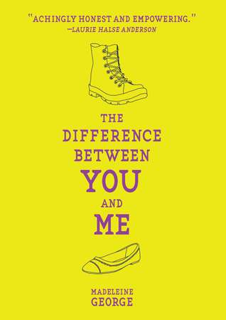 A line drawing of a boot over the title The Difference Between You and Me and below that a line drawing of a flat shoe