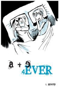 A drawing of two teens looking at each other in bed