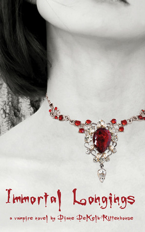 A black and white image of a girls next with an elaborate red jeweled necklace around it