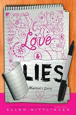 A notepad with Love written in pink pen and Lies scrawled in sharpie