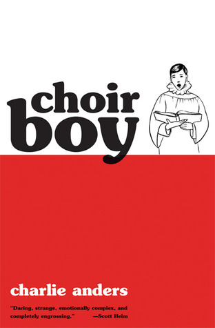 A line drawing of a choir boy next to the title over a block of red