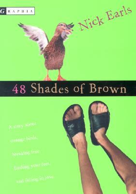 A pair of brown legs in black sandals and a duck on a green background