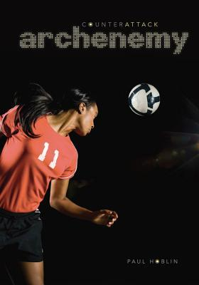 A brown girl in soccer uniform turns to an incoming soccer ball