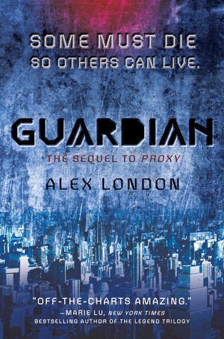 The cover is very blue, with the bottom made up entirely of a city scape.  At the top it says some must die so others can live.