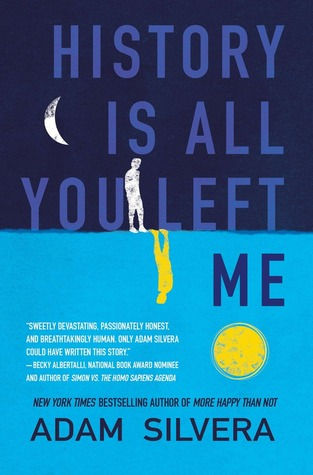 The top half of the cover is dark blue with a white silhouette of boy with a waning moon.  The bottom half is light blue with a yellow silhouette of a boy upside down and a cut out of the sun.