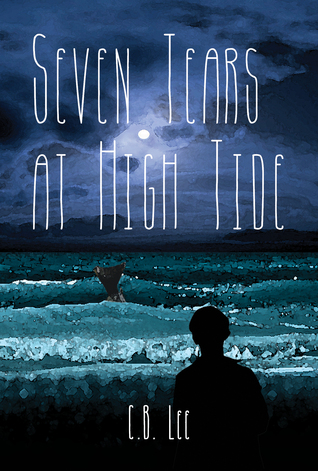 A silhouette of a boy looks out over a stylized ocean where a fin stretches out.