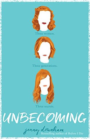 A teal background.  In the middle of the cover in a vertical line are three white faces with no features.  Each feature has red hair in a slightly different style.  The top face is old fashioned rolled, like the 1940s. The face in the middle has wavy chinlength hair and the face on the bottom has long wavy hair.  In between the faces are the words 'Three Women. Three Generations. Three Secrets.