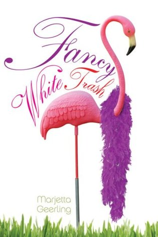 A lawn flamingo with a purple feathered boa draped over it stands in front of a white background