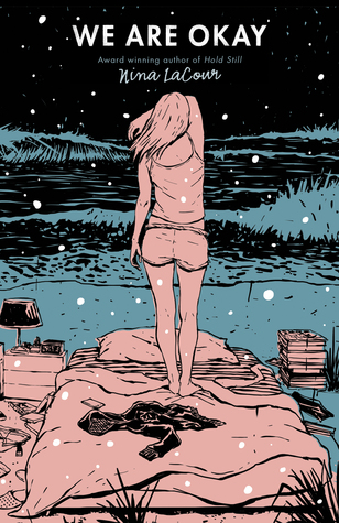 A nighttime bedroom scene (mattress with sheets and blankets, a lamp, and a stack of books on either side) on a patch of grass and a girl standing on the bed wearing a tank top and shorts, back to the reader, and her arm over her eyes.