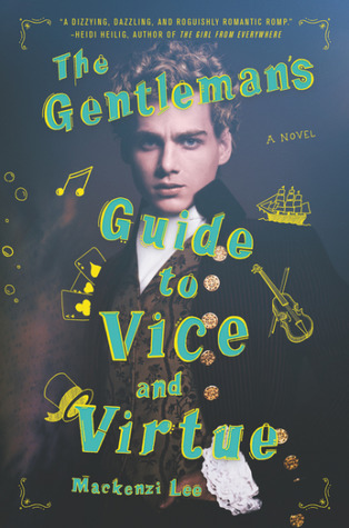 An old-fashioned photo of a young man, doodled over with yellow images of a violin, musical note, a ship, playing cards, and a top hat.