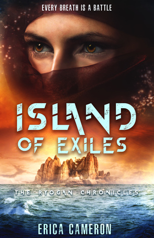The top half of the cover is a close up on a face wrapped in a scarf with only the eyes exposed. The bottom half of the cover is a stone island in the middle of the ocean.