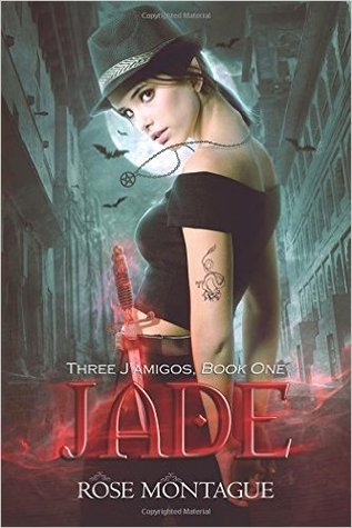 A girl in a black crop top looks over her shoulder at the camera. She's wearing a black pentagram necklace and holding a red glowing dagger