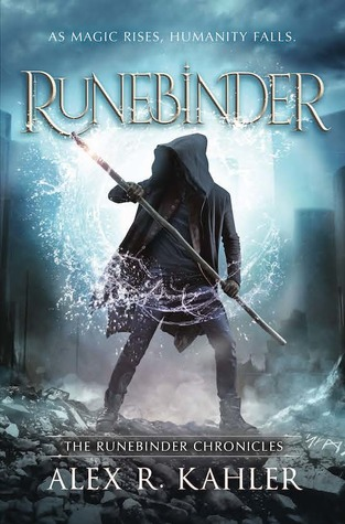 A figure in a hooded shirt stands with feet planted, holding a pole or spear, their torso illuminated with a watery light.
