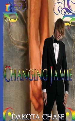 A boy in a tux with rainbow swirls around him