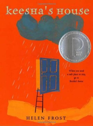 A blue door in the center with a black stick ladder coming out of it on an orange background. A grey cloud is raining down on the door