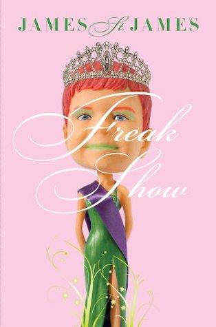 A bobblehead with a beauty queen body wearing a green dress and purple sash has the head of a redheaded boy with short red hair and green lips