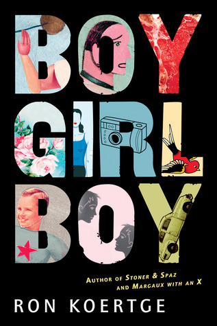 Boy Girl Boy is cut out of a black background to show images of flowers, faces, cars, and other art