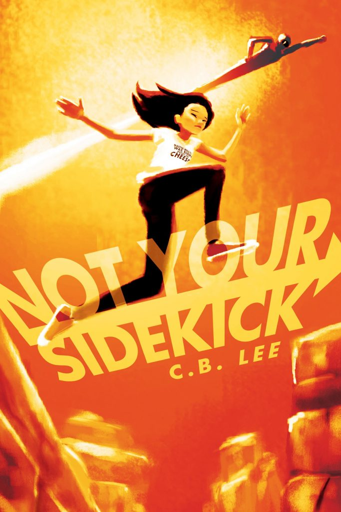 An Asian girl leaps across the cover.  In the background is someone flying.