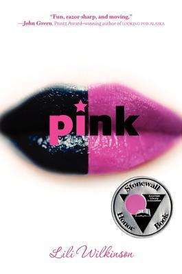 A pair of lips, half painted pink, half painted black