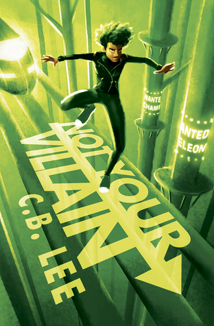 A black boy flies ahead of a train with a green background.