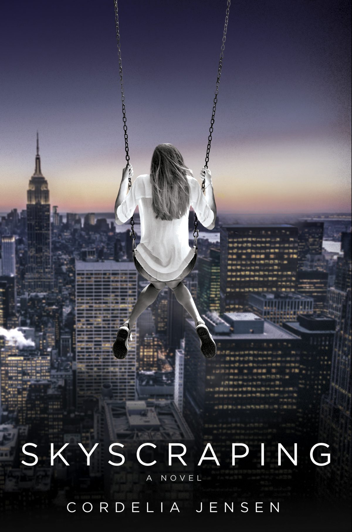 A girl with long blonde hair wearing a white shirt sits in a swing, facing away, high in the sky overlooking the New York City skyline.