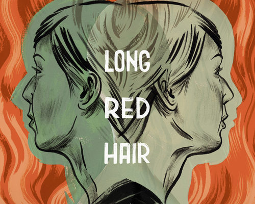 The background is long red wavy hair.  In the foreground are the same face