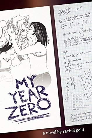 A black and white sketch of two girls kissing, with a sheet of mathematical equations on the right side.