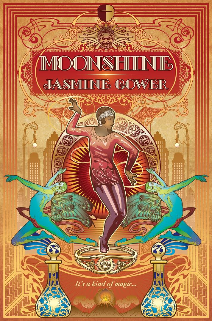 The cover depicts a person with short hair in a 1920's outfit consisting of a short dress and a headband dancing in the middle of the page. they are flanked by two blue winged people, also dancing.