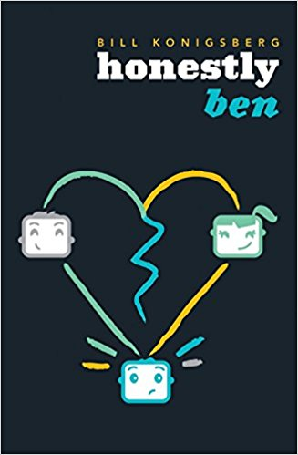 Cover is black with three computerized faces, two male, one female, spread out on the corners of a broken heart.
