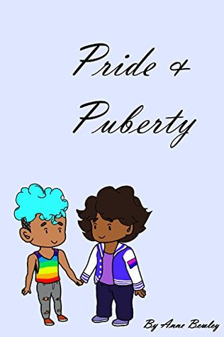 A cartoon style image of two boys holding hands.  Both have brown skin. One has long-ish black hair and is wearing a lettermen jacket and the other has a light blue mohawk style hair cut and is wearing a rainbow tanktop.