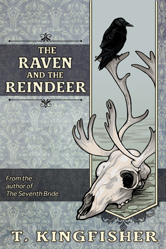 A bleached reindeer skull with a black raven