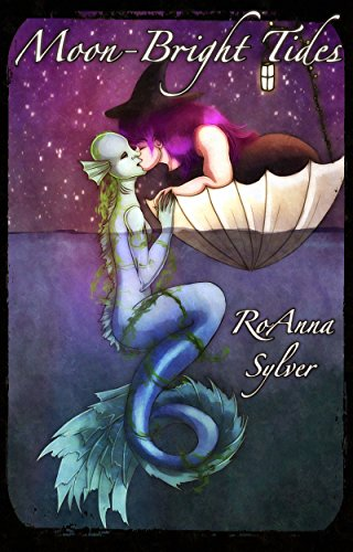 A mer girl kisses a witch with purple hair.  The witch is floating in an upside down umbrella and the mer girl is half out of the water.