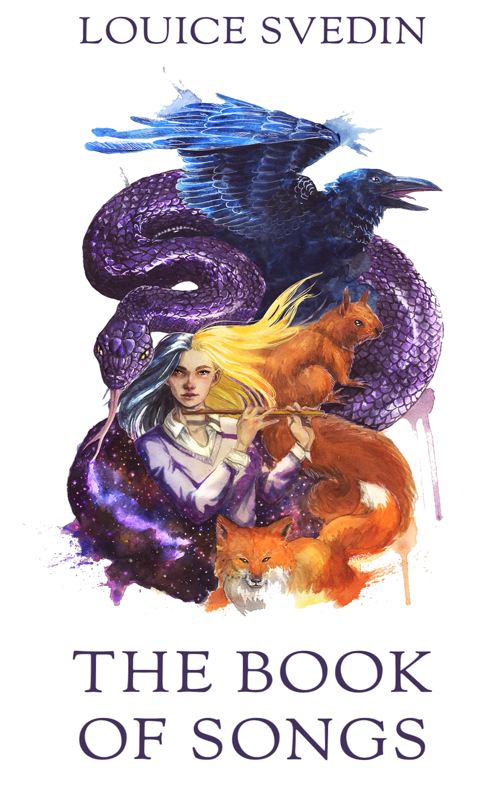 A woman holding a flute with long hair stares out.  One half of her hair is gray and one half is blonde.  Behind her is a squirral whose tail merges with a fox on front of her.  There is a blue crow and a purple snake behind her, almost engulfing her.