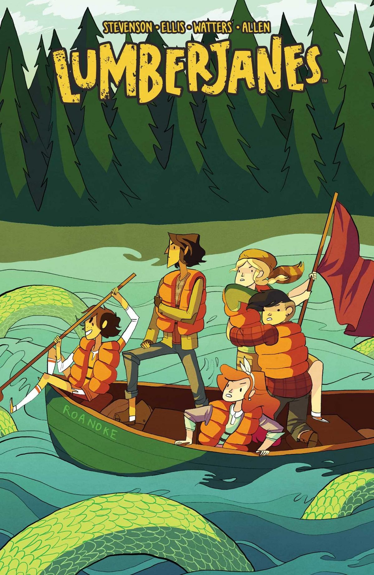 Five girls on a canoe in the river
