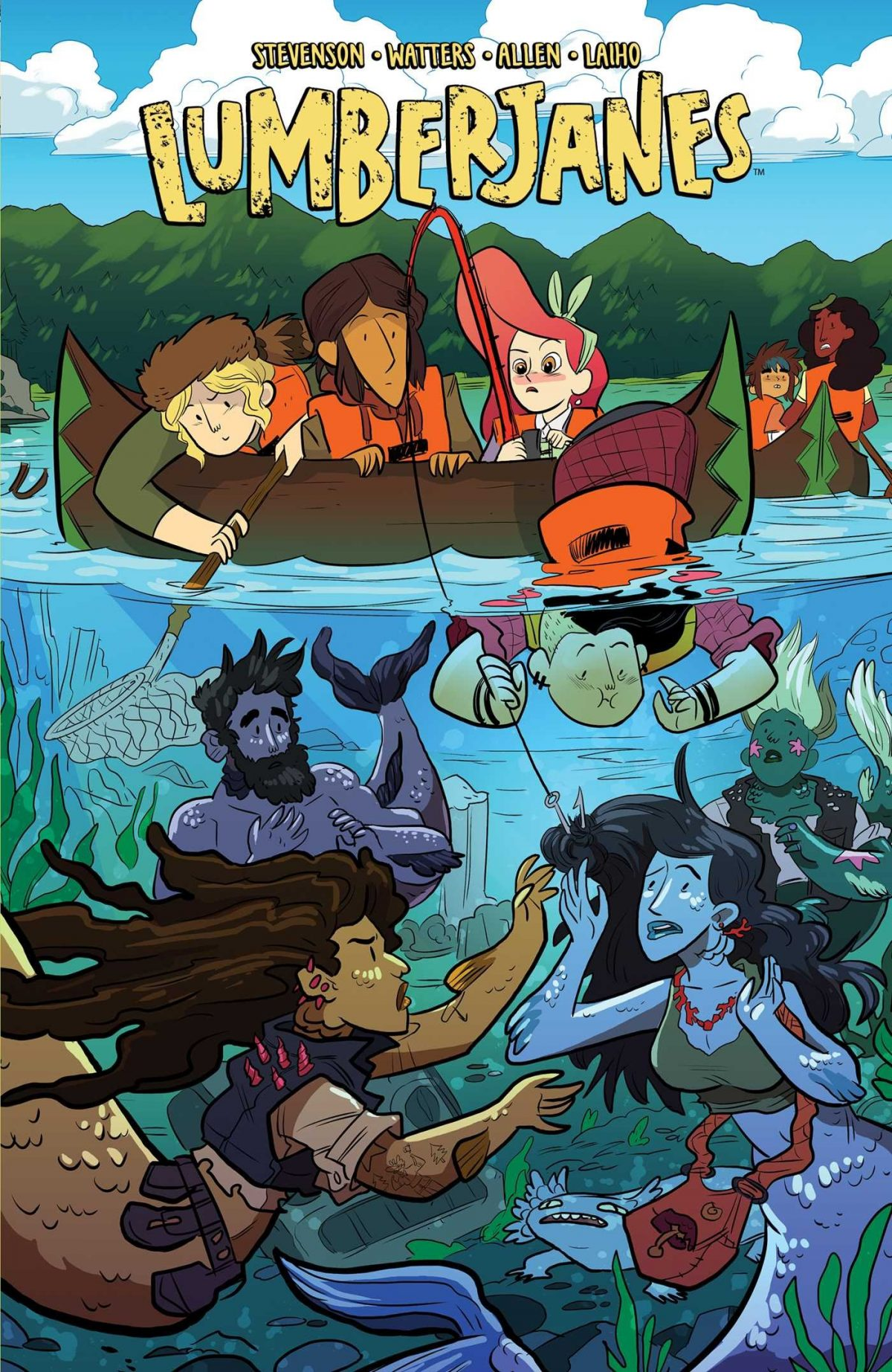 Five girls in two canoes on a river, on is peering into the water and see a variety of mer-people