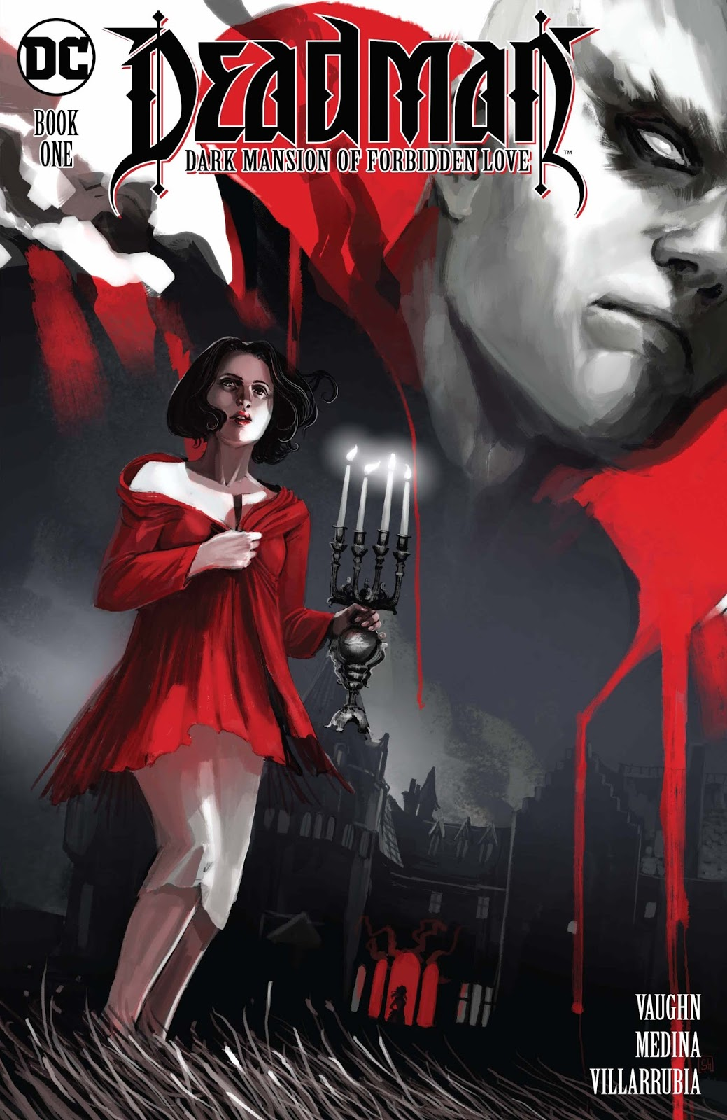 a girl in a red sweater and white pankts holds a candleabra.  In the background looms a vampire looking scary monster.