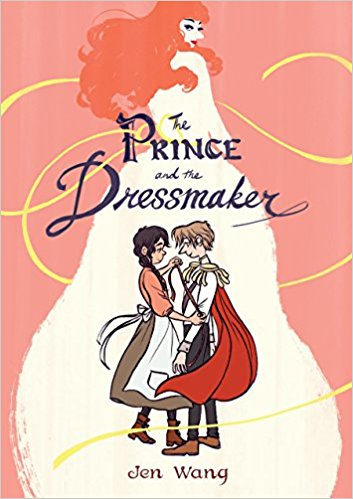 Two people stand facing each other.  One the left is a woman with brown hair wearing a dress and an apron.  She is facing the prince who has short hair.  She is measuring the prince's arm.  They are looking lovingly at each other.  In the background is a larger than life art stylized image of a woman with long red hair, coyly looking over her shoulder.