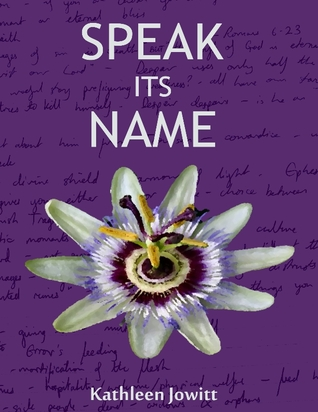 a purple cover with a flower in the middle.  There is writing in the background.