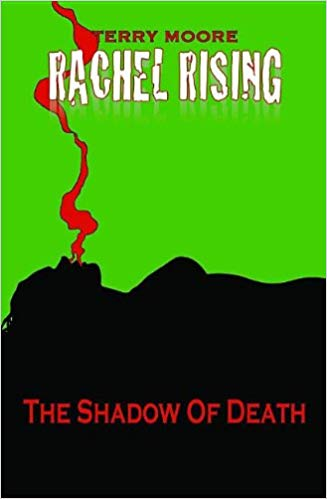 a silhouette lying flat and breathing red vapor.  The background is bright green.