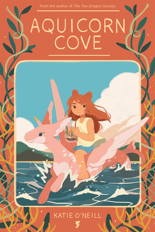 Book cover showing a girl riding on an aquicorn over water.