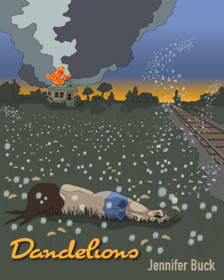 Book cover showing girl lying in grass near railroad tracks, with a house burning in the background.