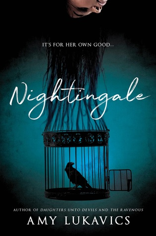 Book cover showing girl's hair trailing downward into a birdcage.