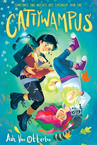 Book cover showing two girls, one in black, the other with rainbow hair.