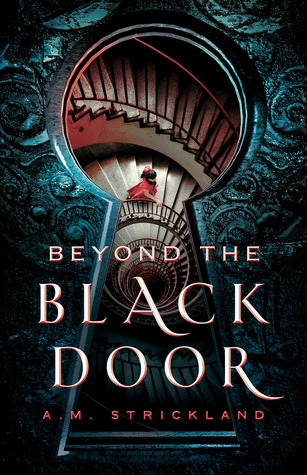 Book cover showing a view through a keyhole of a girl descending a spiral staircase.