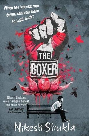 Book cover showing a boxer's fist emerging from a red flower; guy on a bench.