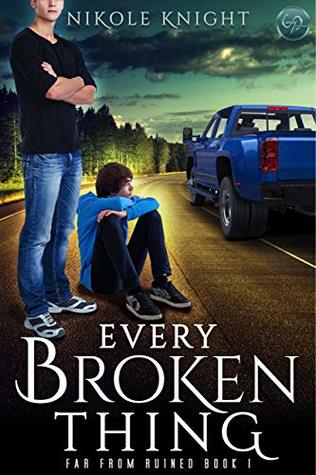 Book cover showing two boys waiting on the side of a road, and a truck.