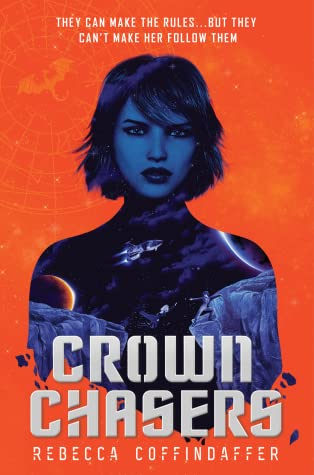 Book cover showing a girl, a spaceship and a planet.