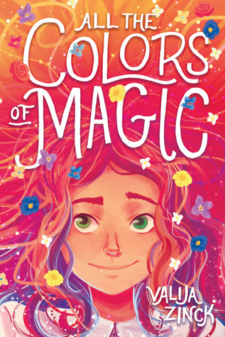 Book cover showing girl with lots of colorful hair and flowers.