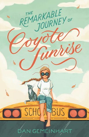 Book cover showing girl with her cat on top of a school bus.