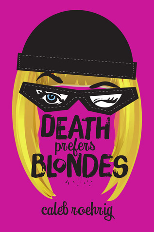 Book cover showing blonde girl's hair and winking eyes.